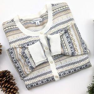 winter fair isle stripe cardigan croft & barrow M